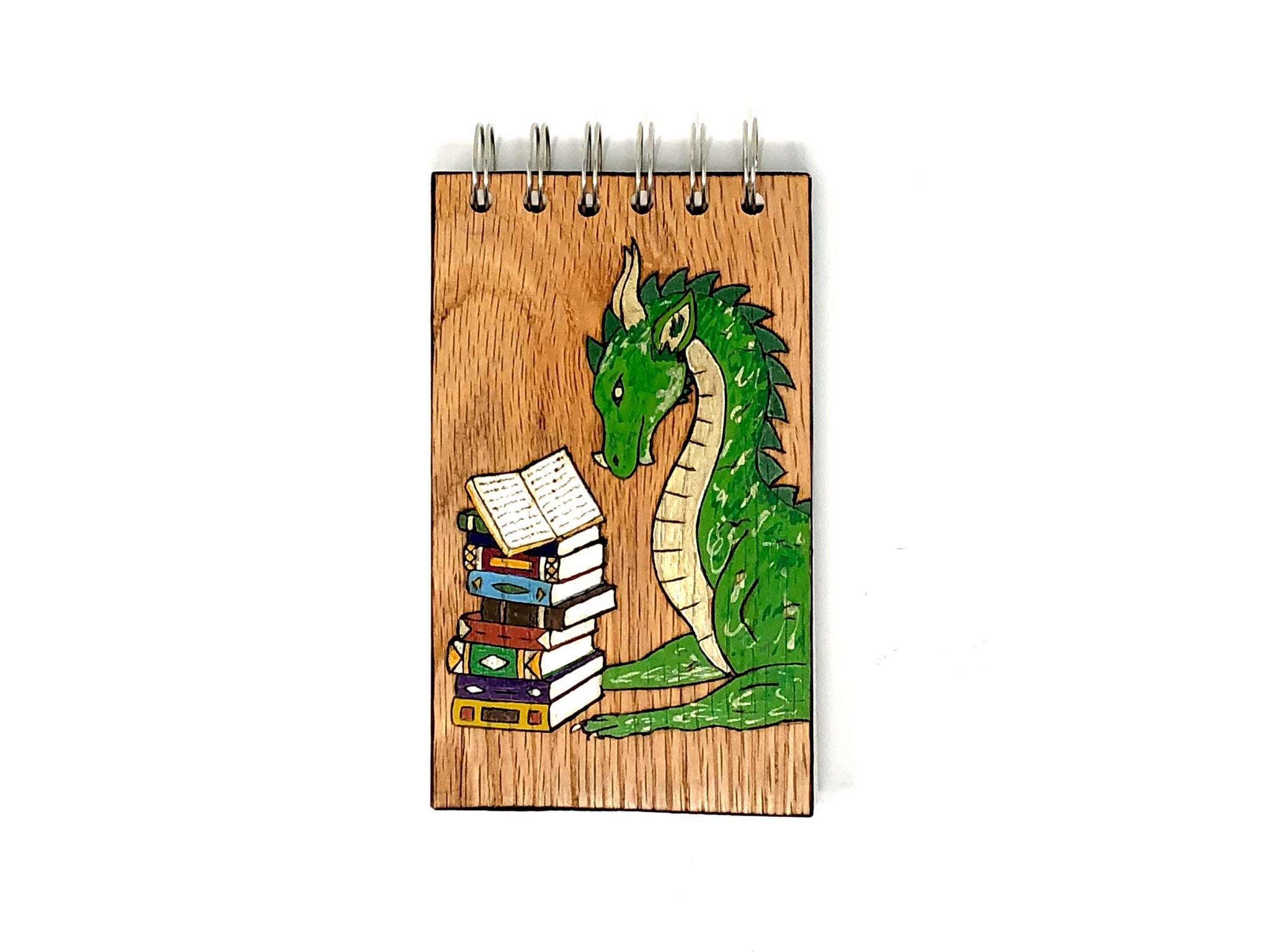reading dragon wooden notebook