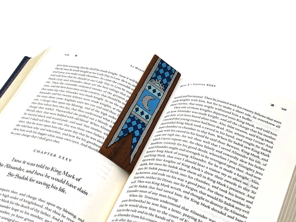 silver tapestry wooden bookmark