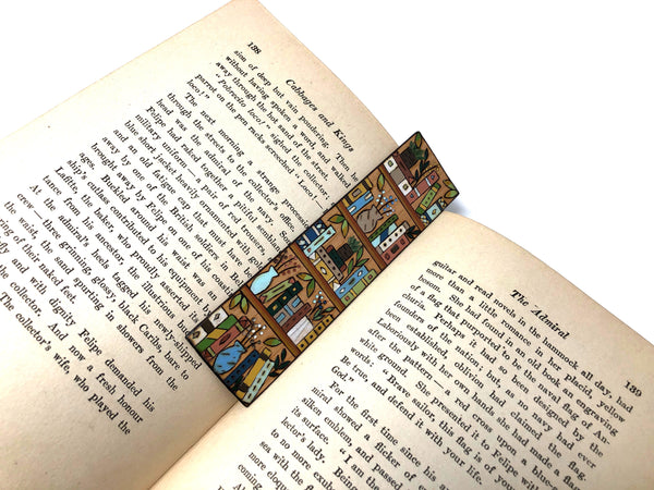 wooden bookshelf bookmark