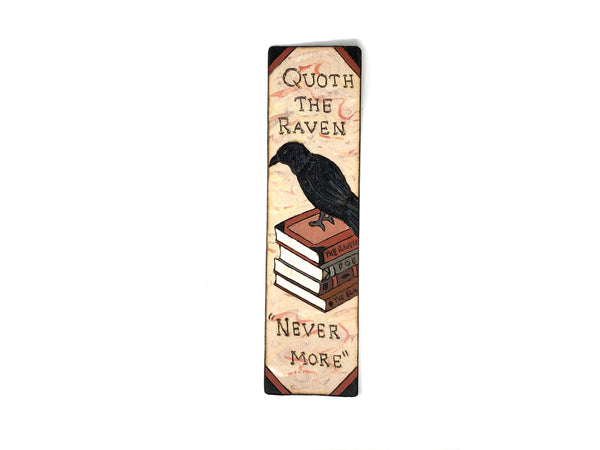 the raven poe wooden bookmark