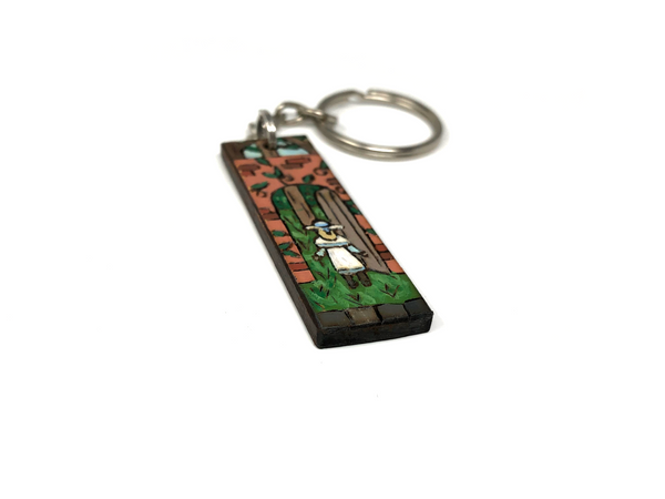 the secret garden wooden keychain
