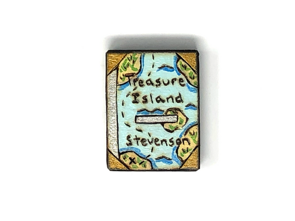 treasure island wooden book magnet