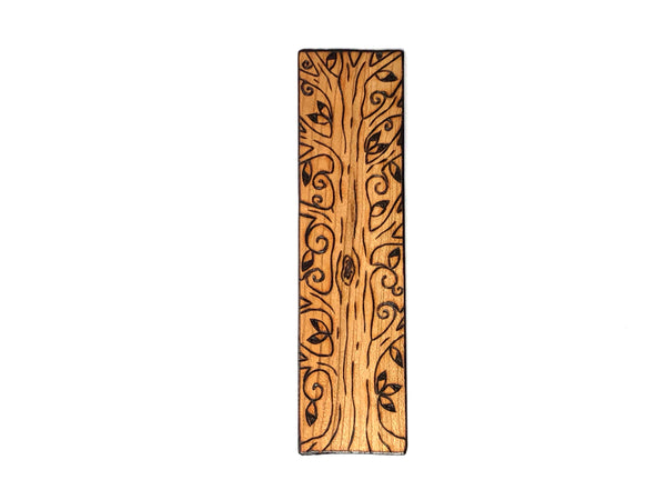 pyrography tree wooden bookmark