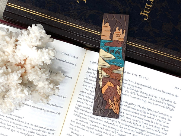 journey to the center of the earth wooden bookmark