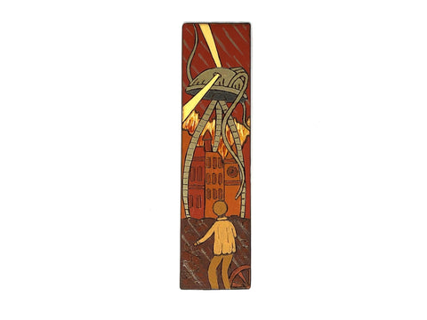 war of the worlds wooden bookmark