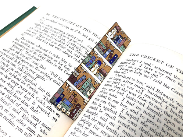 winter bookshelf bookmark