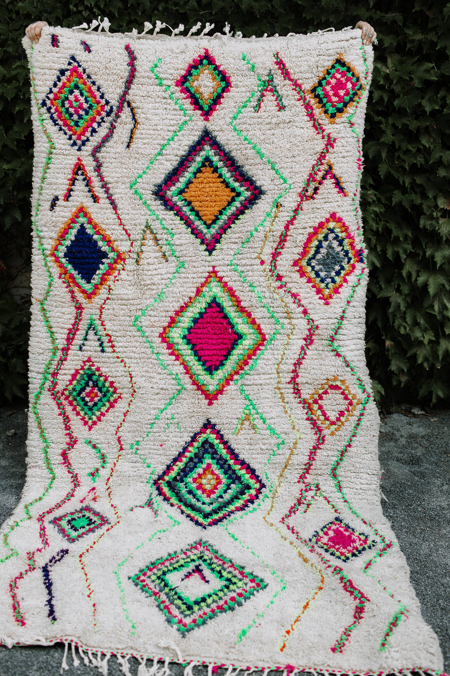 Azilal Vintage Moroccan Rug Pink and Green