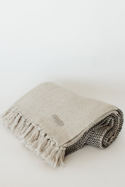 Cotton Blend Knit Throw with Fringe Colorblock