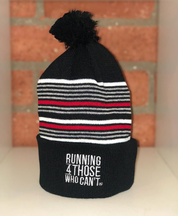 R4TWC Pom Red Striped Beanie | Black