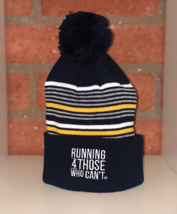 R4TWC Pom Striped Beanie | Yellow