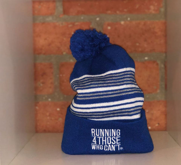 R4TWC Pom Silver Striped Beanie | Blue