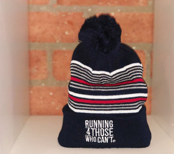 R4TWC Pom Red Striped Beanie | Navy Blue