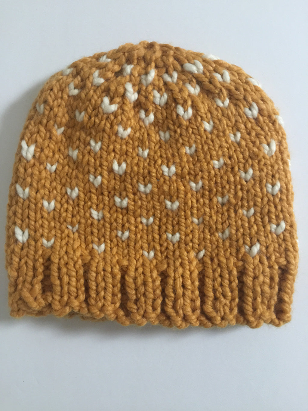 Handknit Beanie Mustard and White