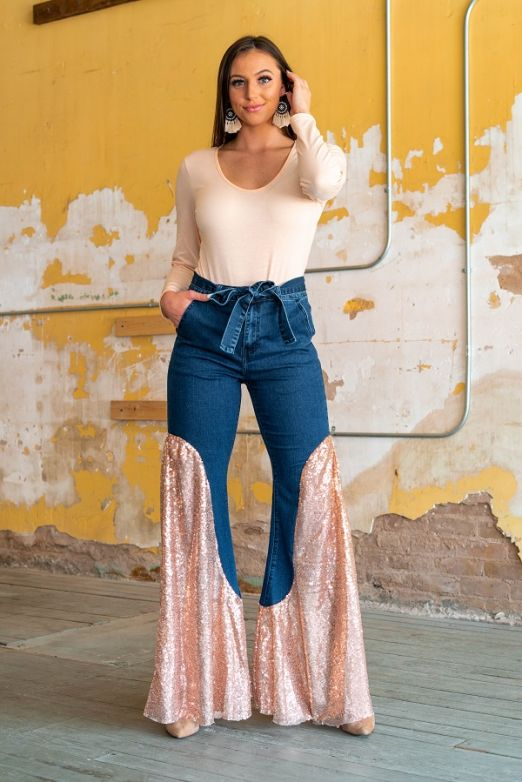 Campwood Sequin Denim with Waist Bow