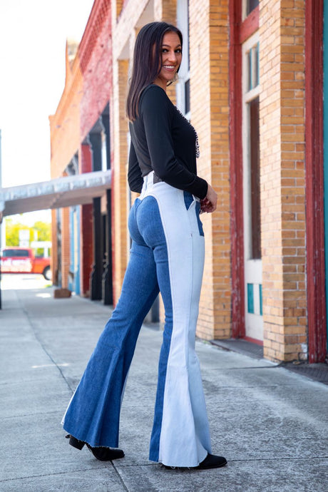 Uvalde Two Tone Flare Jeans
