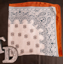 Load image into Gallery viewer, TD's Orange Outline Paisley Wild Rag