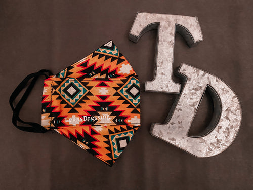 Aztec Print Mask (orange)