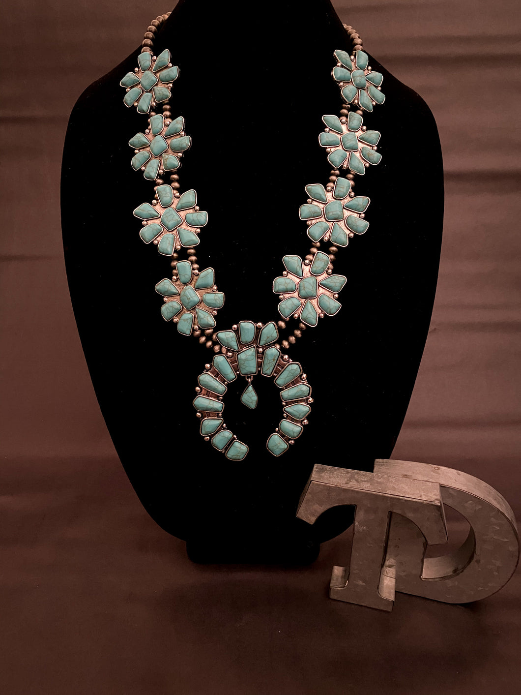 Wild West - Statement turquoise squash necklace + earrings