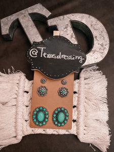 Turquoise & Silver Earring Trio (opt 3)
