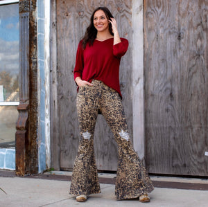 Hazen Silver Sequins Distress Flares