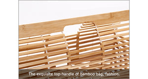 Women's bamboo wood top handle summer hollow beach bag female casual hand bags