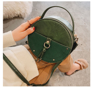 Women's Vintage Scrub Leather Round  Mini Tote Bag For Women