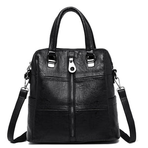 3-in-1 Women Leather Backpacks Vintage Female Shoulder Bag