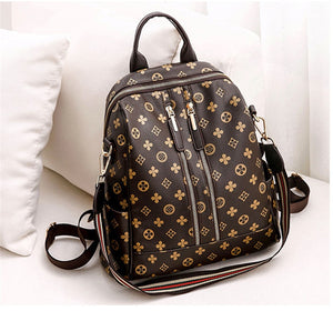 Double Zipper Women's Brown  Backpack Retro Female