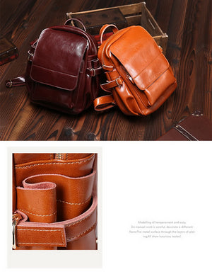 Ladies Casual Vintage Classic Oil Wax Cowhide Real leather Women's Backpacks Fem