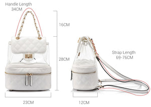 Women's mini backpack clear small school bag  backpack student. White Black Choices