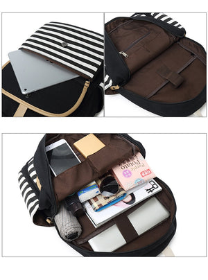 3pcs/set Fashion Canvas Womens Backpack Bookbag Laptop College Bagpack