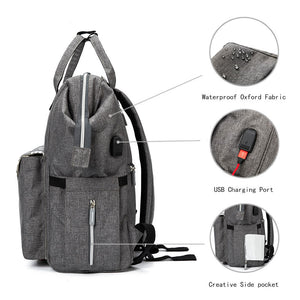 Fashionable Diaper Bag with With USB Charging