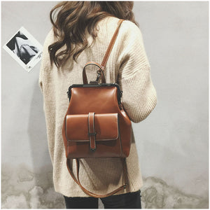 Voilo Retro Leather Backpack