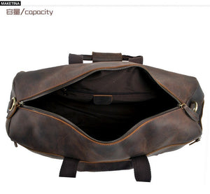 Vintage Leather Men's  Brown Travel Bag Luggage bag Genuine Leather Duffel Bag