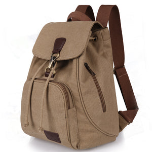 Female women canvas backpack preppy style school Lady girl student school laptop