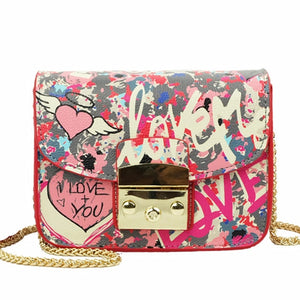 Women's Teen Graffiti Love Shoulder Bag Handbag  Chain Crossbody