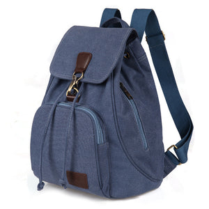 Women's canvas backpack preppy style school Lady girl student school bag