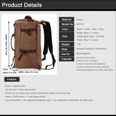 Men s Travel bag Luggage Bag Travel Backpack Duffle bag overnight weekend  bag S cdb83124af2a1