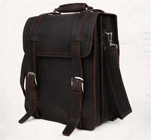 Mens Vintage Crazy Horse Genuine Leather Backpack  Large Laptop Travel School
