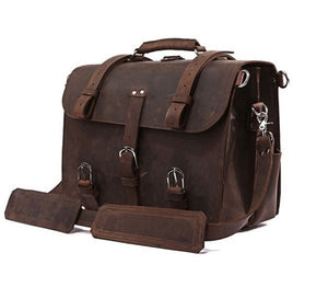 Vintage Crazy Horse Genuine Leather Men's Briefcase Business Bag Large Leather