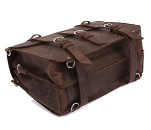 MUCHUAN Vintage Crazy Horse Genuine Brown Leather Men's Travel Duffel Bag