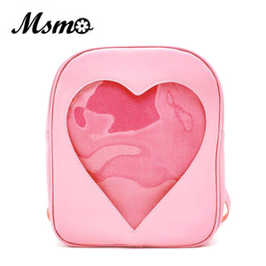 Girl's Candy Transparent Clear Love Heart Shape Backpack School Bag. 6 Colors