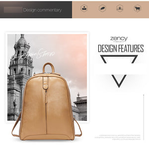 Women's 100%  Genuine Leather Backpack Female Popular Style
