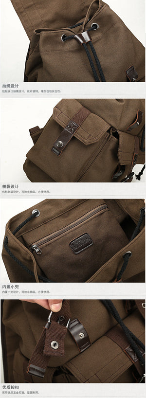 Men's backpack vintage canvas travel bag school bag large capacity 3 Colors