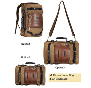 Men's backpack Canvas Large Functional Versatile Bag Multi functional