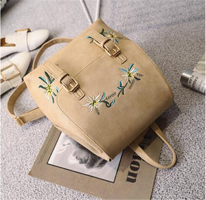 Women's PU Leather Backpack Girls Rucksack Small Floral Embroidery Flowers