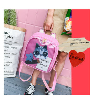 Cute Cat Ear LeatherBackpack Candy Color Transparent Bag Shoulder Bags School