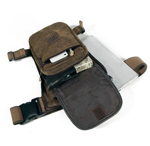 Men's Brown Canvas Hip Belt Bum Fanny Pack Waist Leg Bag