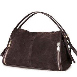Nico Louise Women Real Split Suede Leather Boston Bag. 7 Color Choices
