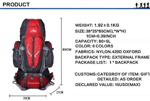 Large 85L Outdoor Backpack Travel Multi-purpose Climbing Backpacks Hiking Big Ca